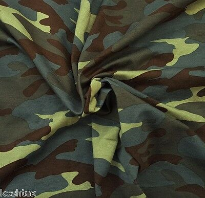 Modal Spandex Army Camouflage Print Fabric Jersey Knit by Yard Green Brown 2/16