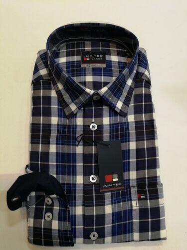 Giove Camicia Manica Lunga Kent colletto blu a quadri taglia L 41/42