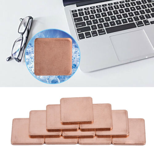 20x20mm Copper Heat Sink Shim Sheet Thermal Pads for Laptop GPU CPU 10 Pcs GDT