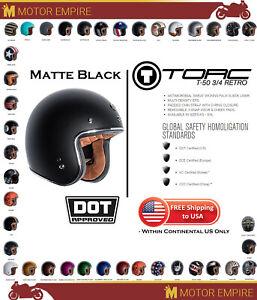 TORC T-50 3//4 Open Face Low Profile Motorcycle Scooter Helmet Matte Black DOT