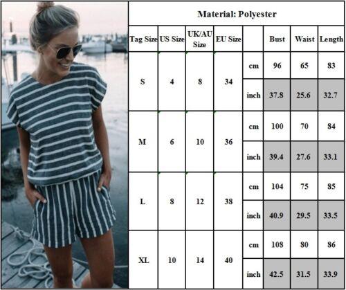 Damen Gestreift Kurzarm Kurz Overall Mini Jumpsuit Playsuit Freizeit Hosenanzug