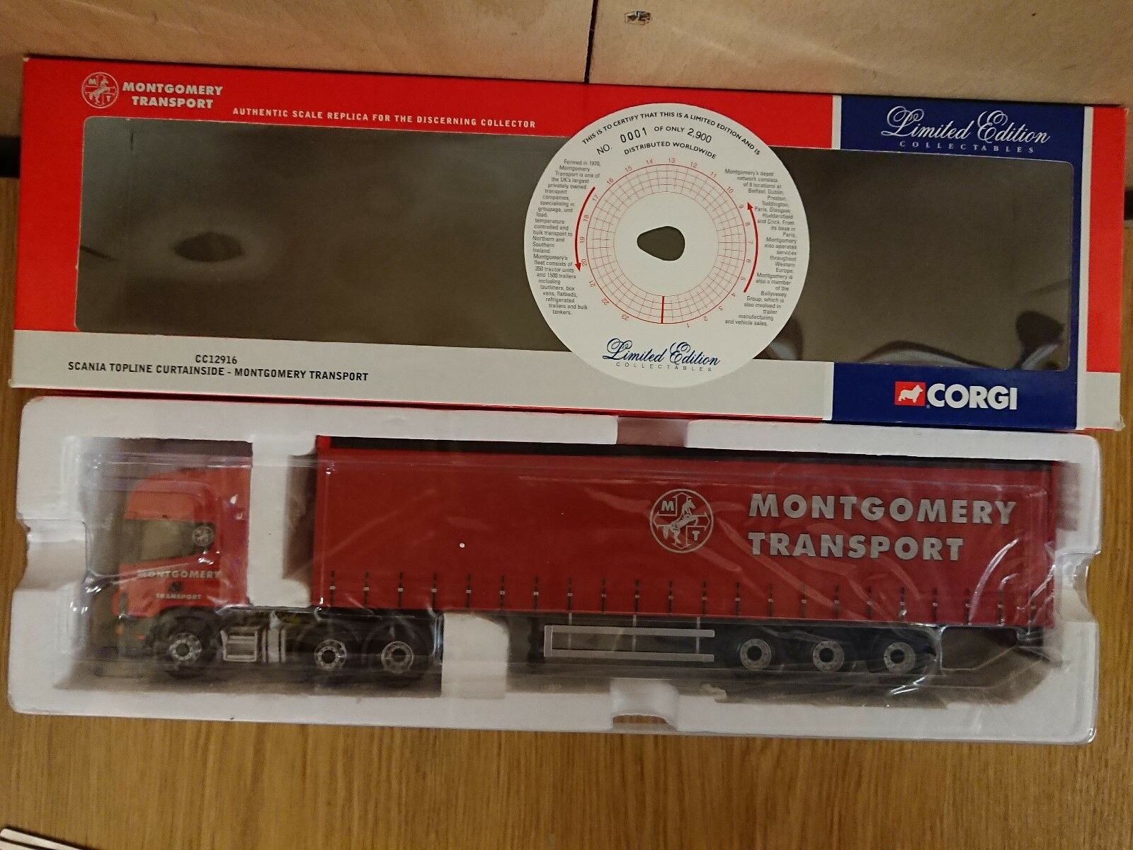 Corgi CC12916 Scania Topline Curtainside Montgomery Trans Ltd Ed No 0001 of 2900