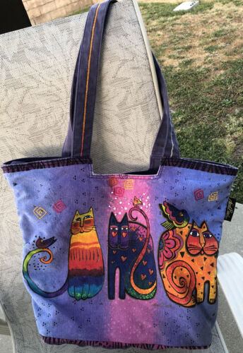 Laura Burch Tote Bag Purse Colorful Cats Rainbow