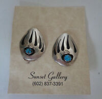 Navajo Made Turquoise And Sterling Earrings Clip Back