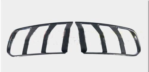 Black Carbon Fiber Tail Light Lamp Bezels Cover Trim For 2015-2017 Ford Mustang