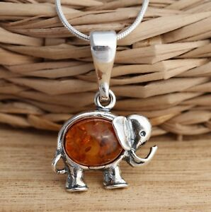 Cognac baltic amber 925 sterling silver elephant pendant chain image is loading cognac baltic amber 925 sterling silver elephant pendant aloadofball Image collections