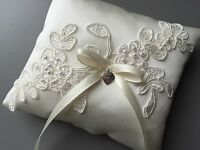 Ivory Wedding Ring Pillow Cushion Holder Bearer Beaded Lace Bow Heart Pocket UK