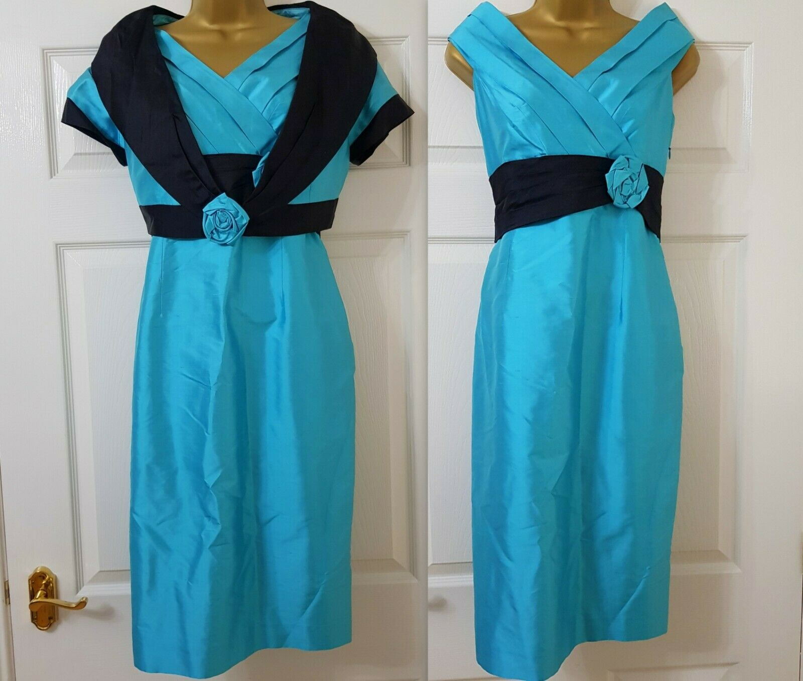 New PRESEN Turquoise Blue & Black Mother Bride Outfit Taffeta dress Jacket UK 12