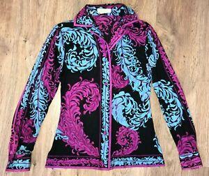 Emilio-Pucci-rare-vintage-women-silk-floral-paisley-pattern-blouse-shirt-size-8