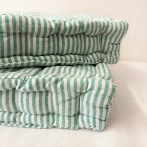 Green Pinstripe Floor Cushion | Luxury Cotton Large Chair Garden Seat Pad