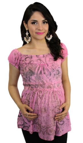 Pink Sublimation Off sholder Maternity Women/'s Short Sleeve Top S M L XL