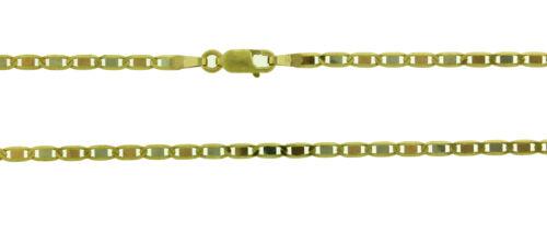 14k Solid Gold 3 Color Multi Tone Flat Mariner Valentino Chain 2.4mm