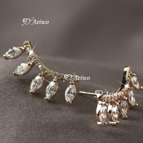 18K GOLD FILLED CLEAR CRYSTAL EARRINGS STUD FASHION EYELASHES EAR CLIMBERS