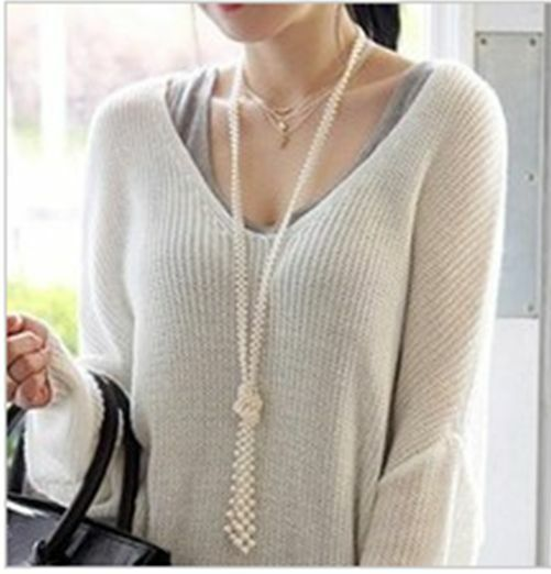 1pcs Fashion imitation pearl long necklace sweater chain