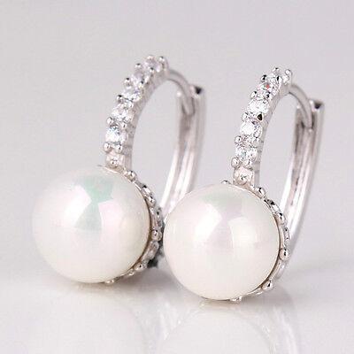 Hot New 18K White Gold Filled Elegant Wedding Pearl Crystal Huggie Earrings Gift