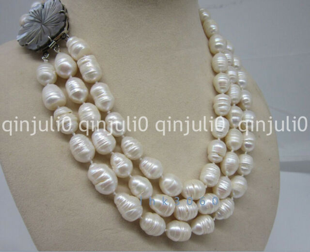 """3 row 12-14mm natural south sea white baroque pearl necklace 17-19"""" JN1299"""