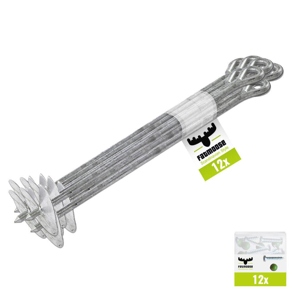 FATMOOSE 12er Set EasyFix XL Grundanker Bodenanker Spielturm Schaukelanker Anker  | Erste Qualität