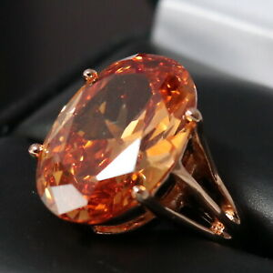 3-5-Ct-Oval-Orange-Citrine-Ring-Women-Jewelry-14K-Rose-Gold-Plated-Free-Ship