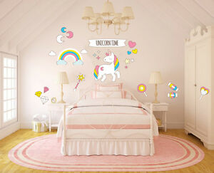 Details about Unicorn Time DIY Girl Vinyl Wall Decal - Girl/Teen Bedroom  Decor W22\