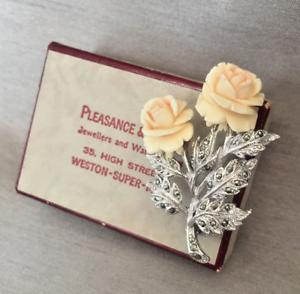 Vintage-Carved-Blush-Roses-amp-Marcasite-Silver-Tone-Brooch-amp-Original-Gift-Box