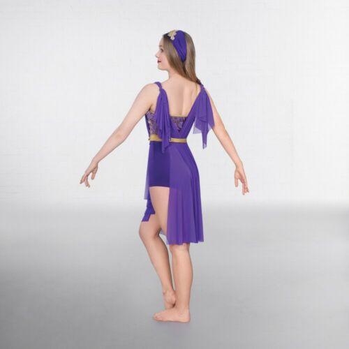 EN STOCK Violet /& Or Paillettes Multi Tie lyrique Grec Robe De Danse Costume