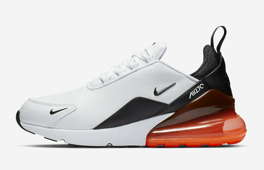NIKE AIR MAX 270 LEATHER WHITE BLACK HYPER CRIMSON SZ 9-13