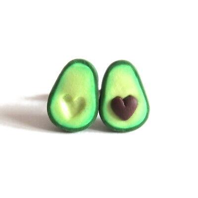 Avocado Drop Dangle Oval Heart Ear Stud Earrings Polymer Clay Jewelry MW