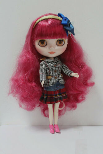 """Takara 12/"""" Neo Blythe Doll Factory Nude Doll Rose Red curly hair SD160 White S"""