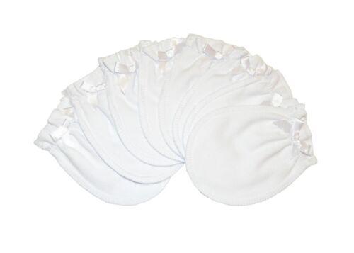 Soft White - 4 Pairs Cotton Newborn Baby/infant No Scratch Mittens Gloves