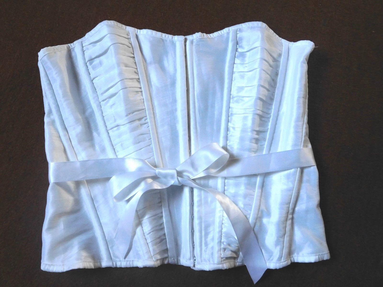 Schulterfreie weiße Corsage Gr.L (40 42) LA VIE EN Rosa Schnürung, Häkchen, Band