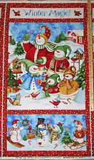"Winter Magic Snowman Christmas Northcott Fabric  23"" Lg Panel  #21068"