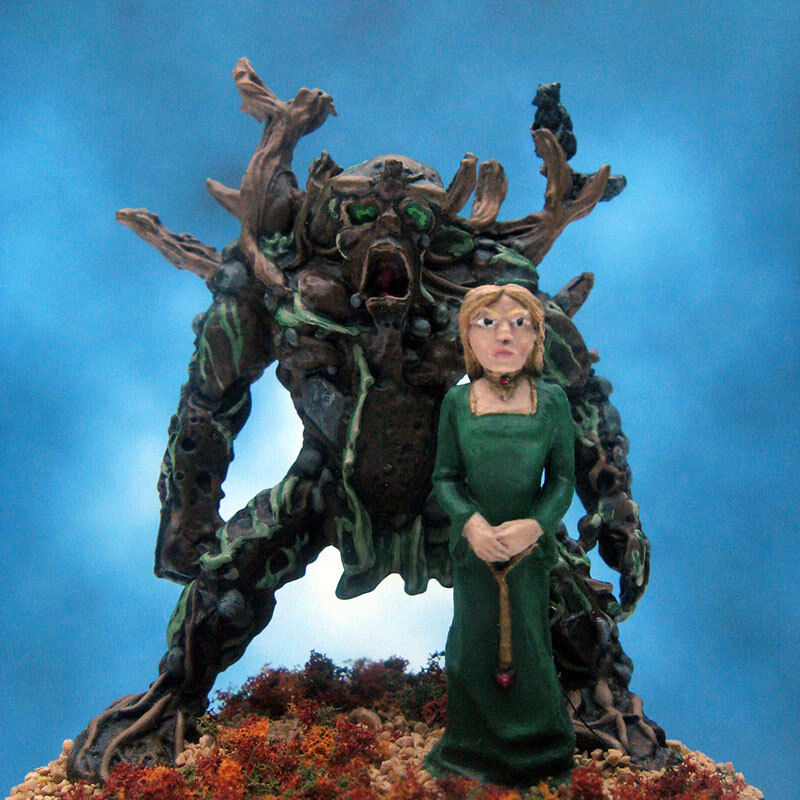 Painted RAFM Miniature Earth Elemental and Earth Preistess