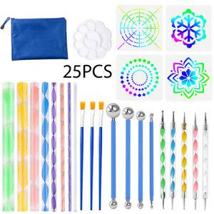 25Pcs Mandala Dotting Tools for Rock Painting Kit Dot Art Rock Pen Paint Stencil