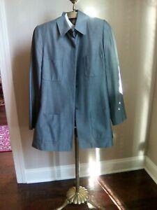Linda-Allard-Ellen-Tracy-Green-Golden-Brown-Blazer-Jacket-Silk-Blend-Size-8