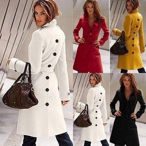 New Ladies Fashion Warm Wool Slim Long Coat Long Sleeve Outwear Jacket