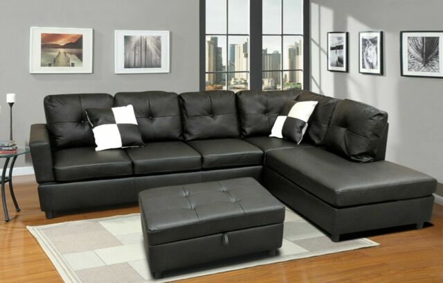 Magnificent Luxury Faux Leather Living Room Sectional Sofa Set Black Espresso L R Chaise Beatyapartments Chair Design Images Beatyapartmentscom
