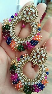 Multi-colored-Chandni-Tika-set-indianJewellery-Earring-Tikka-Set-Stone-Gold-UK