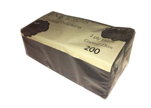 200 2 Capas Negro 24 cm Cóctel Servilletas Estampadas Suave tejido de papel