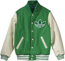ADIDAS ORIGINALS MENS NIGO VARSITY JACKET SIZE L GREEN / CREAM 80% WOOL BNWT