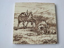 ANTIQUE VICTORIAN MINTONS ANIMALS OF THE FARM TILE - HIGHLAND GOATS No1699