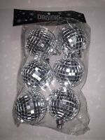 Set Of 6 Christmas Holiday Disco Mirror Ball Ornaments Silver