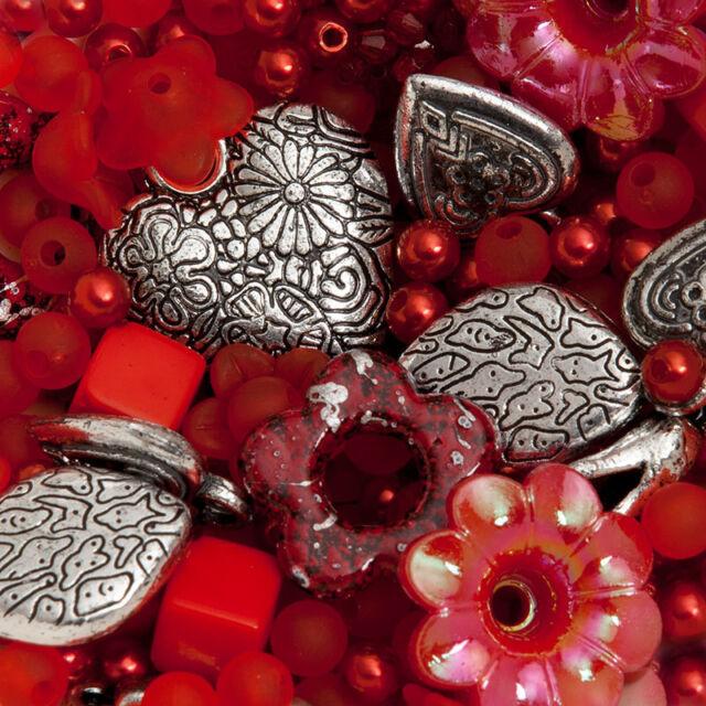 300 perlen rot und silber Mix Schmuck Machen Bastelpaket Bastelset Basteln