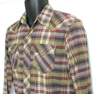American-Eagle-Men-039-s-Vintage-Fit-Western-Shirt-Size-XS-Long-Sleeve-Pearl-Snap