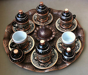 Image Is Loading Silver Copper Engravings Turkish Coffee Set 6 Cups