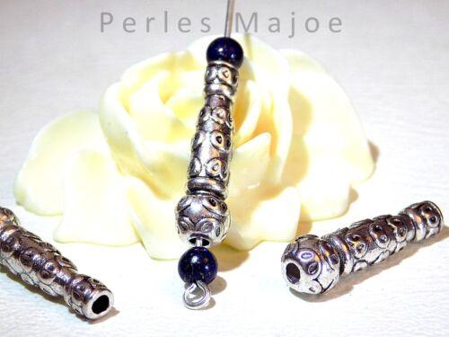 5 x perles forme colonne décorées couleur argent antique 22.5 x 7 mm