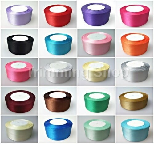 40mm x 25 Metres Full Roll Quality Double Sided Faced Satin Ribbon 24 Colours UK