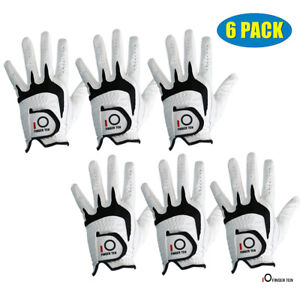 Cabretta-Leather-Golf-Glove-Men-039-s-6-Pack-No-Slip-White-Left-Hand-Right-Fast-Ship