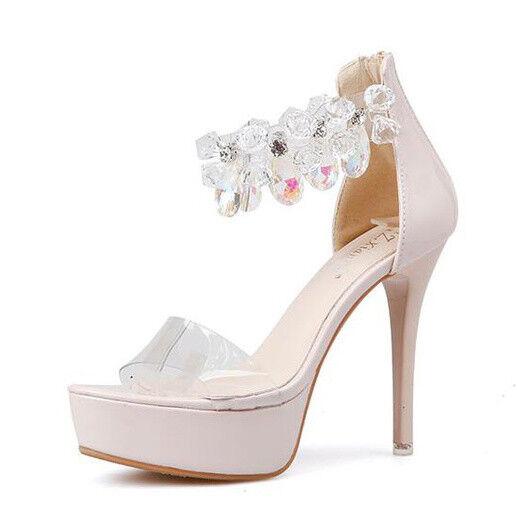 Sandali stiletto eleganti 12 cm beige pelle sintetica eleganti 9474