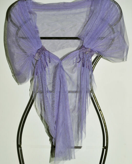 hand made shawl, BOHEMIAN STYLE, mauve net and hand dyed lace