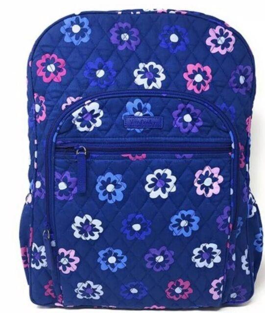 daa178f60 Vera Bradley Quilted Campus Backpack Ellie Flowers Pattern Blue Pink Purple  NEW